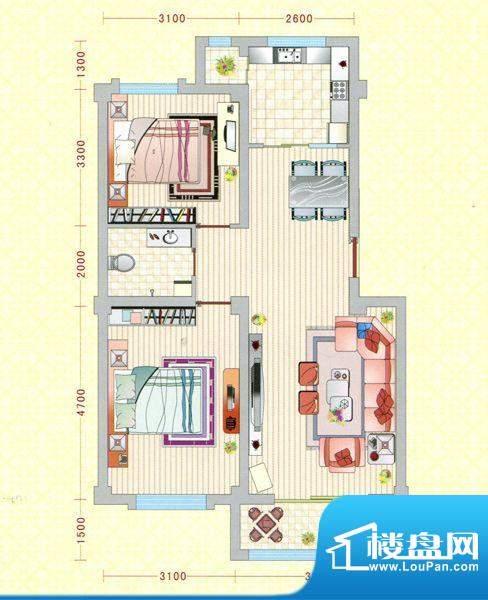 盛世灵州C户型图 2室面积:85.00m平米