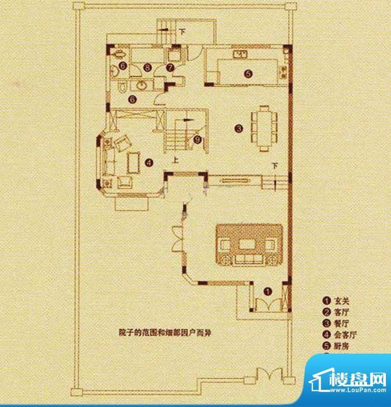 朗润园5栋A座1层 3厅面积:287.65m平米