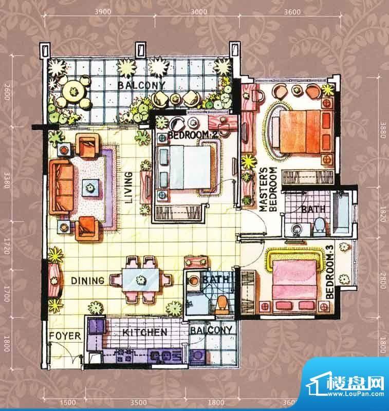 帝璟东方盈福居3幢0面积:113.00m平米