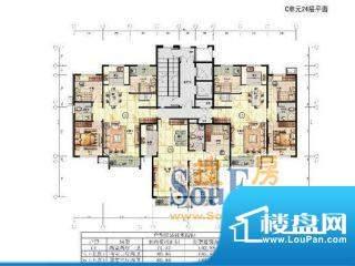 宝湖天下C户型图 4室面积:185.82m平米