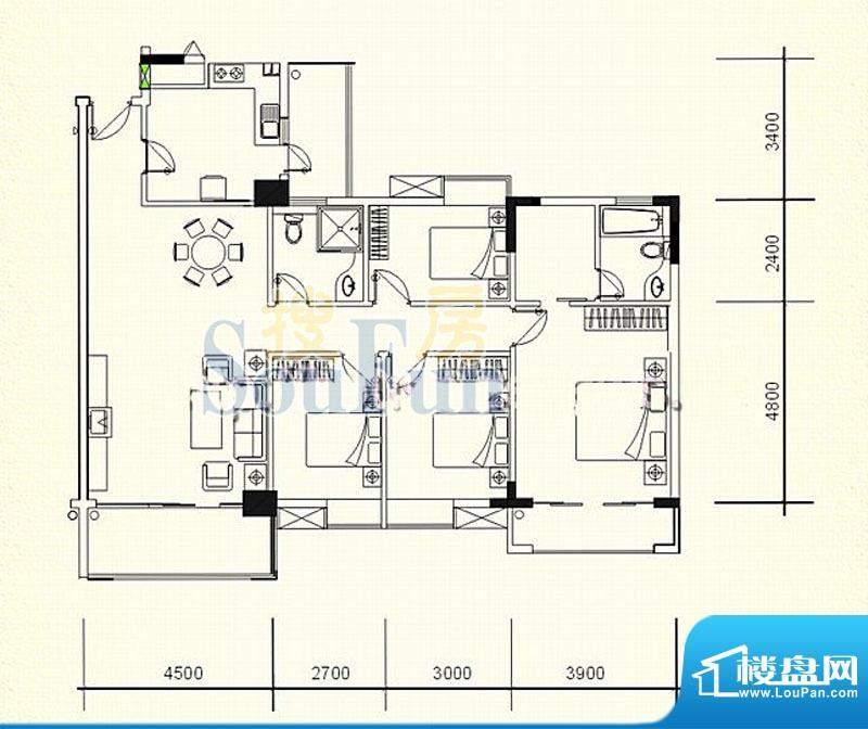 逸湖半岛A户型 4室2面积:140.37m平米