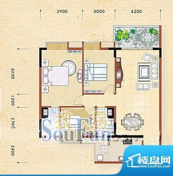 逸湖半岛C户型 3室2面积:123.23m平米