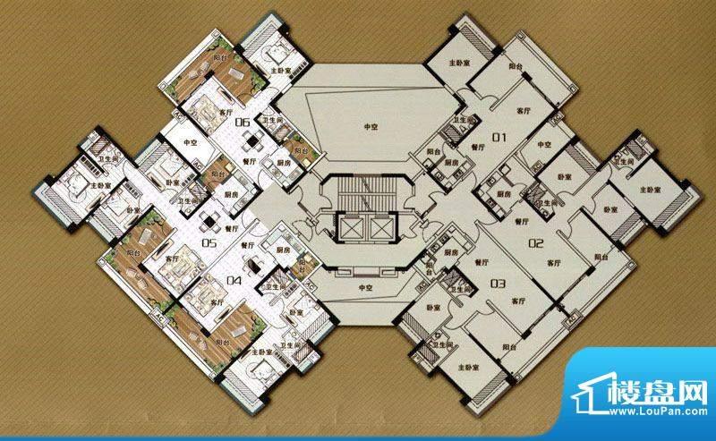 雅居乐御龙山R型 1室面积:84.00m平米