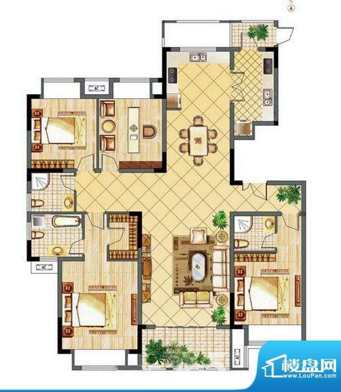 城市之光C户型 4室2面积:178.00m平米