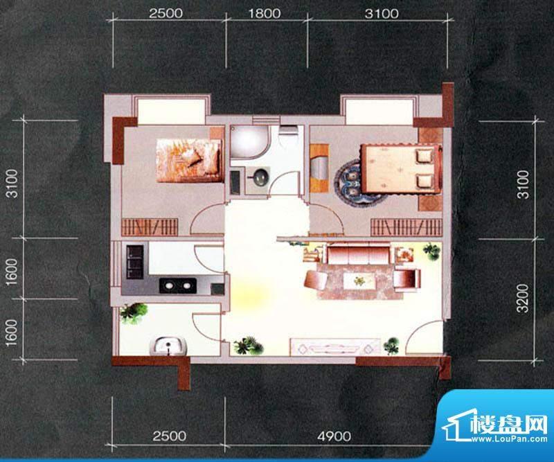 天明豪庭1栋07户型 面积:64.64m平米