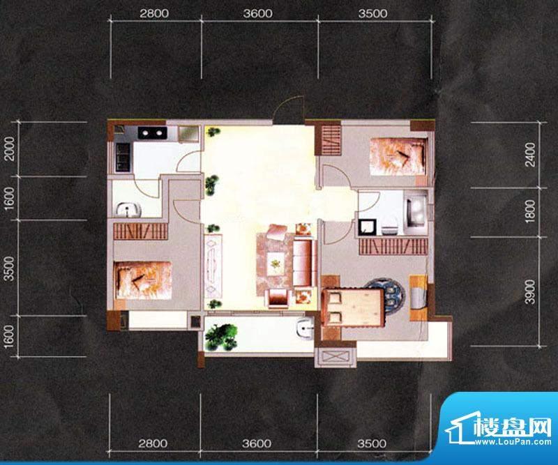 天明豪庭2/3栋02房 面积:92.74m平米