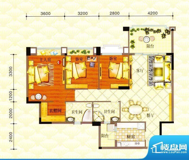 金华花园C户型 3室2面积:122.00m平米