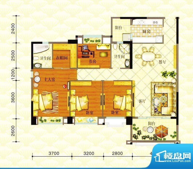 金华花园E户型 4室2面积:136.00m平米