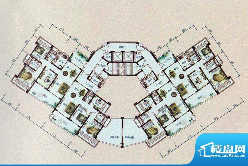 世纪新城V2户型 3室面积:139.77m平米