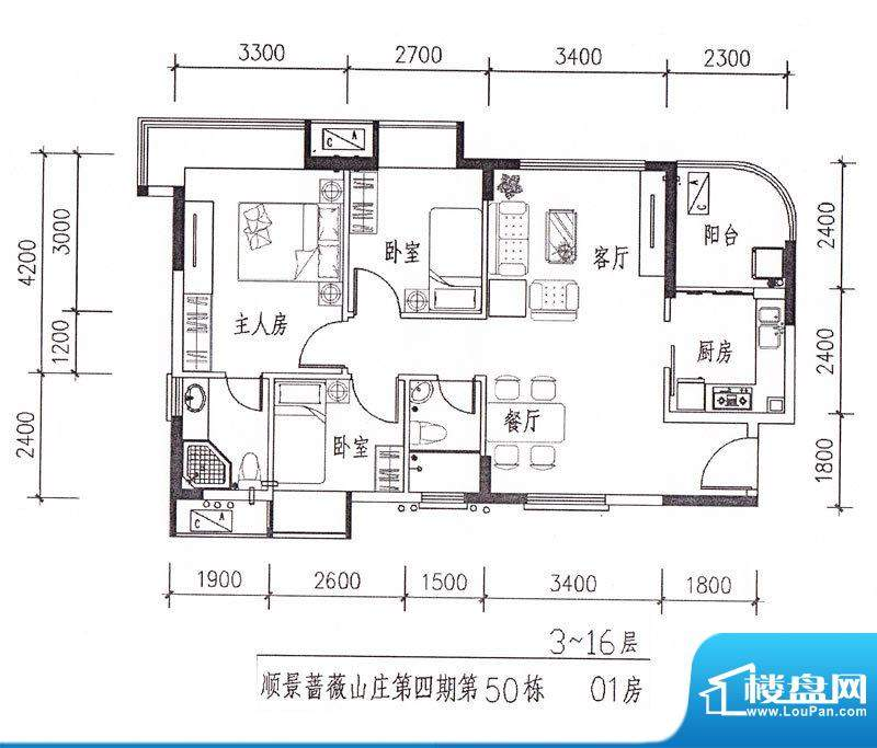 顺景蔷薇山庄四期第面积:88.11m平米
