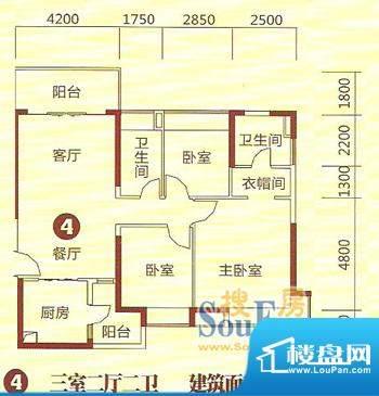 恒大绿洲28栋4号房户面积:123.00m平米