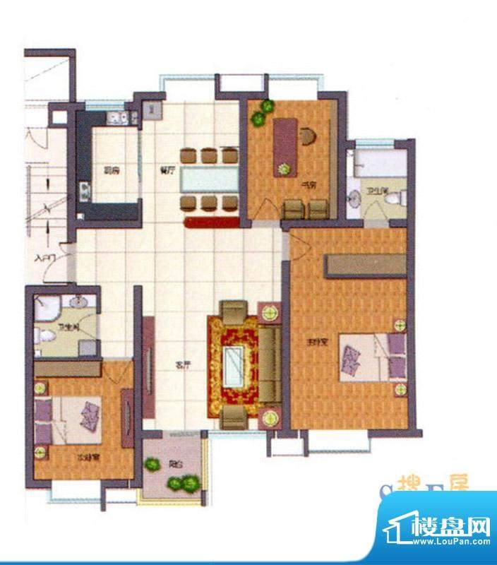 伊品水岸G户型 3室2面积:121.45m平米