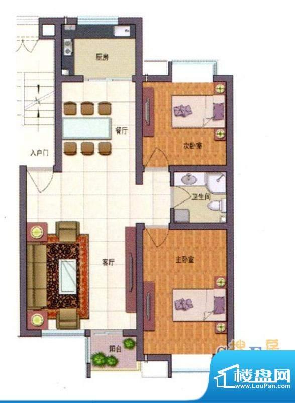 伊品水岸A户型 2室2面积:89.68m平米