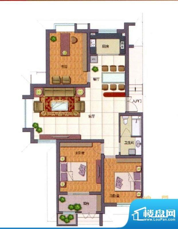 伊品水岸F户型 3室2面积:122.82m平米