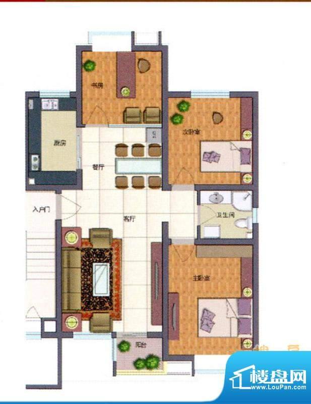 伊品水岸C户型 3室2面积:102.18m平米