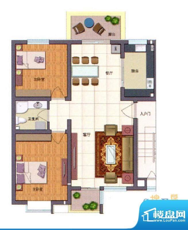 伊品水岸C'户型 2室面积:92.40m平米
