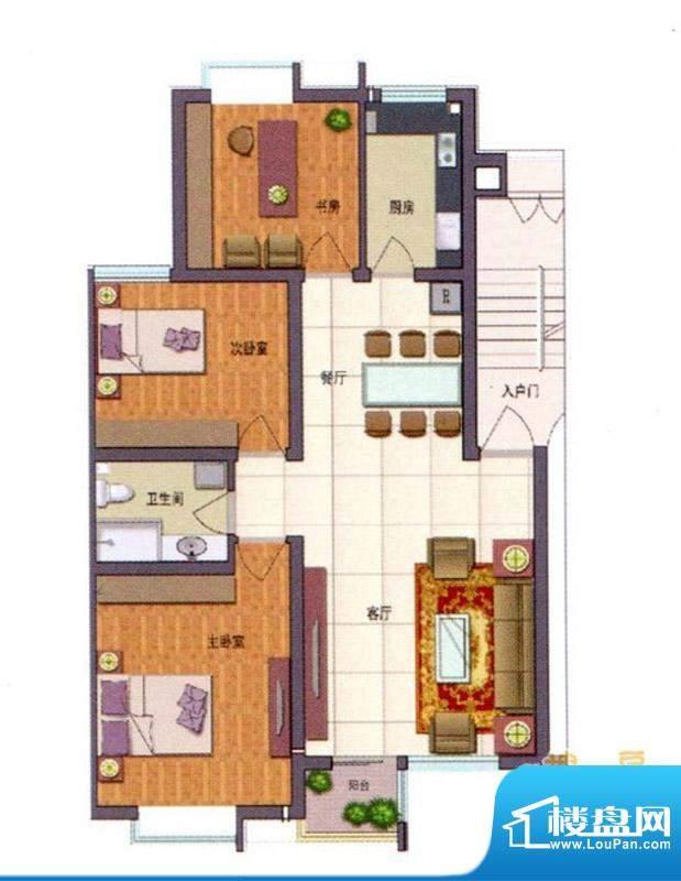 伊品水岸D户型 3室2面积:112.68m平米