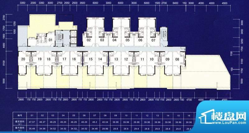 映翠豪庭1栋2层户型面积:46.37m平米