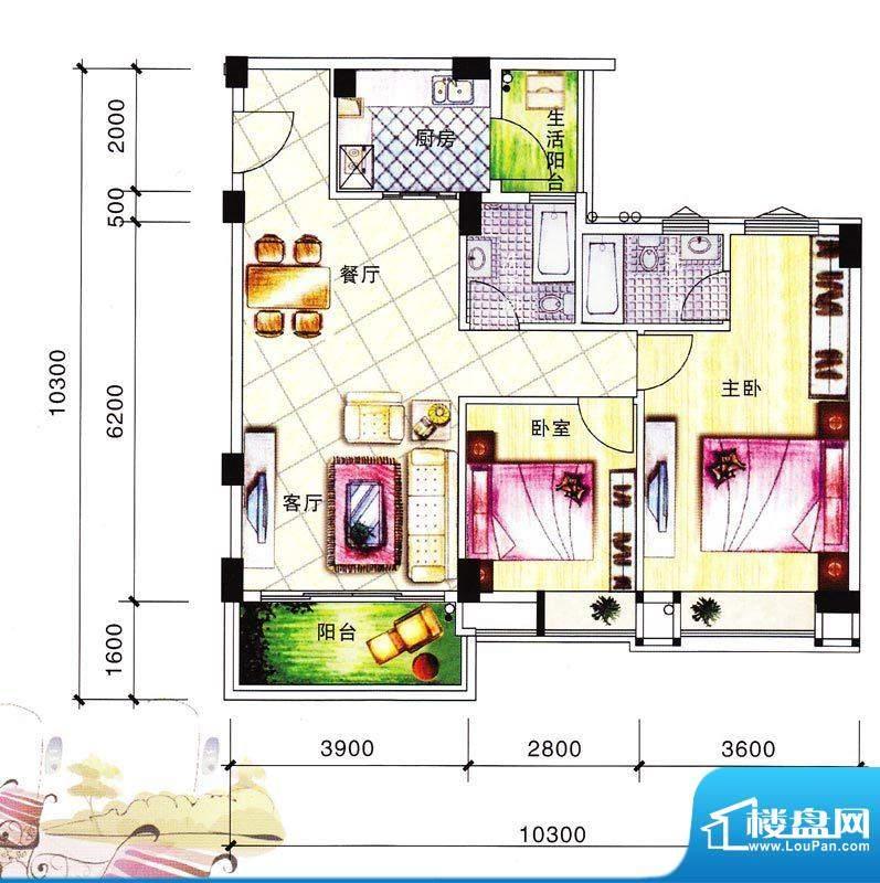 碧翠华庭1/2号楼03单面积:93.30m平米