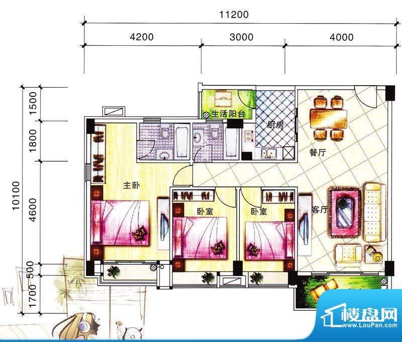 碧翠华庭3号楼03/04面积:122.94m平米