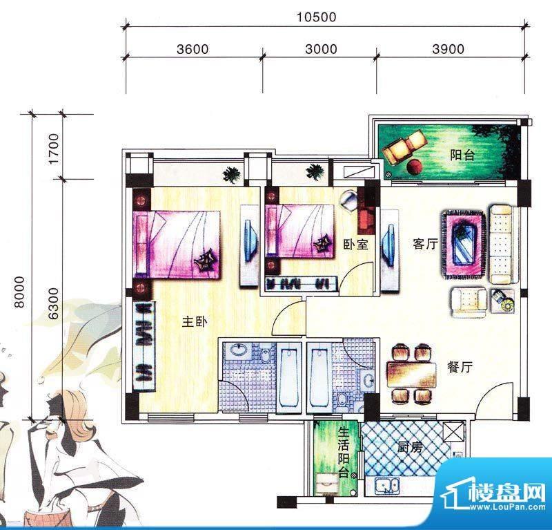 碧翠华庭5/6号楼01/面积:88.90m平米