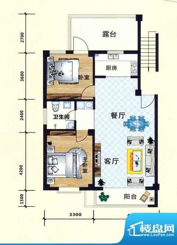 立业春城C2户型 2室面积:112.00m平米