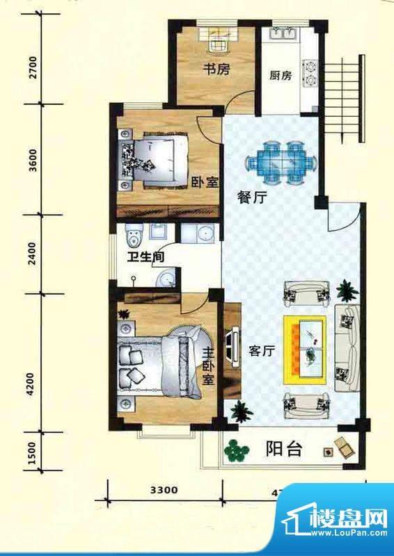 立业春城C1户型 3室面积:124.00m平米