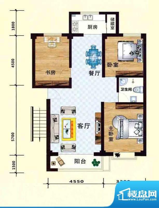 立业春城D户型 3室2面积:116.00m平米