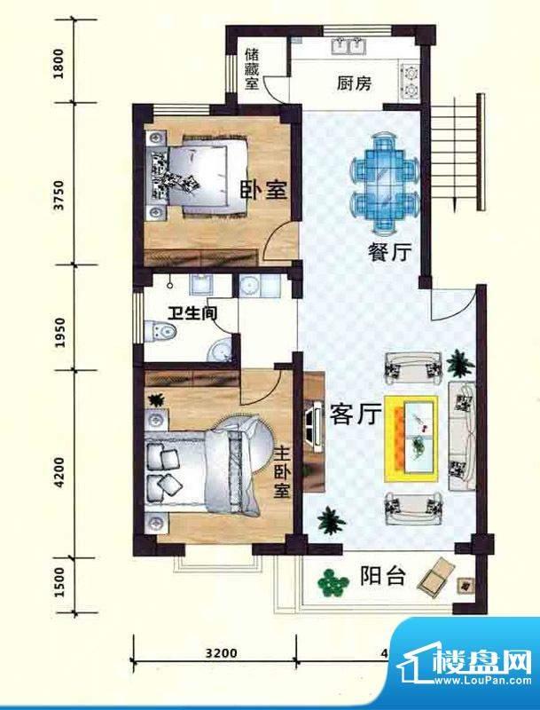 立业春城B户型 2室2面积:96.00m平米