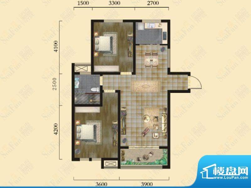 奇瑞新里城3#楼G1户面积:95.20m平米