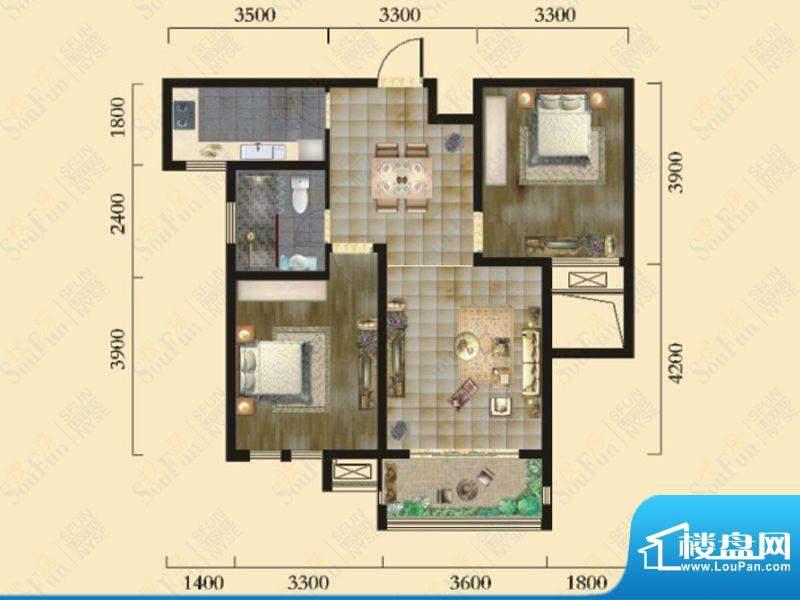 奇瑞新里城3#楼G2户面积:83.60m平米