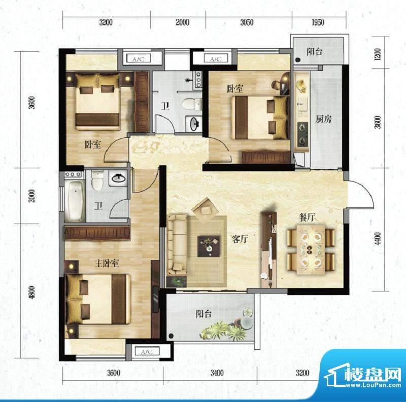 金水湾QQ复式A常青户面积:113.97m平米