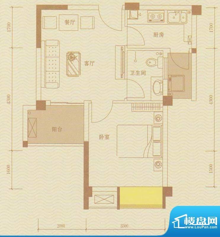 金水湾QQ复式户型图面积:44.00m平米