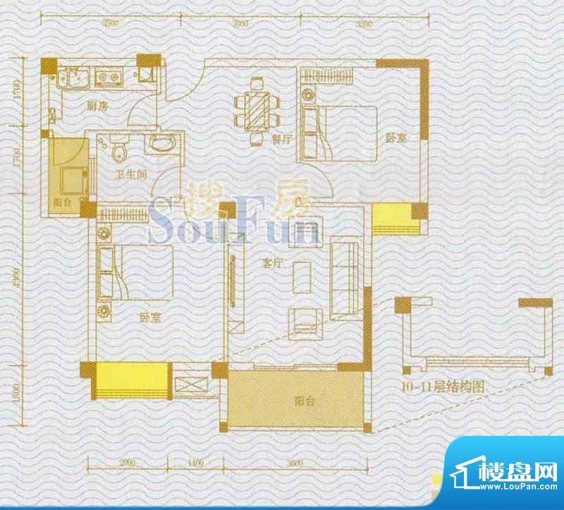 金水湾QQ复式户型图面积:74.00m平米