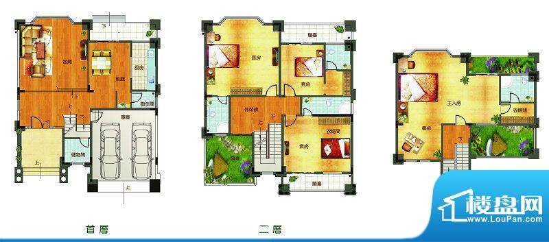 聚豪园D户型 5室3厅面积:361.65m平米