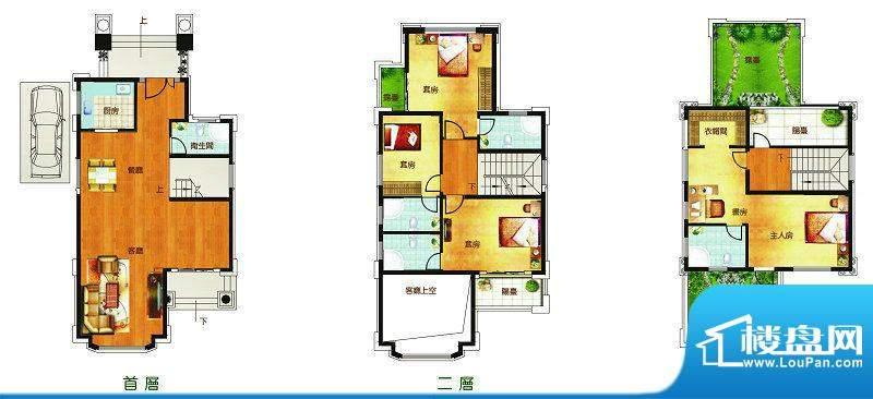 聚豪园F3户型 5室2厅面积:247.27m平米