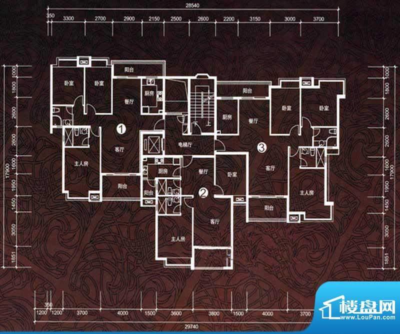 华鸿水云轩E户型 3室面积:88.00m平米