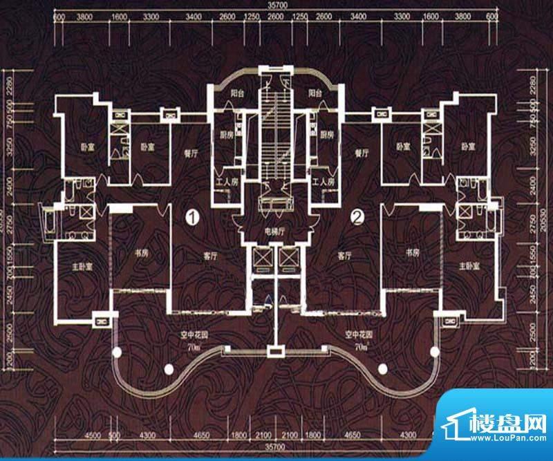 华鸿水云轩D户型 5室面积:216.00m平米