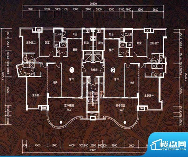 华鸿水云轩C户型 5室面积:202.00m平米