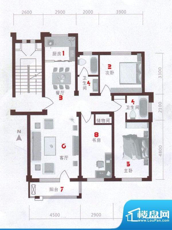 欧语城邦B户型图 3室面积:126.17m平米
