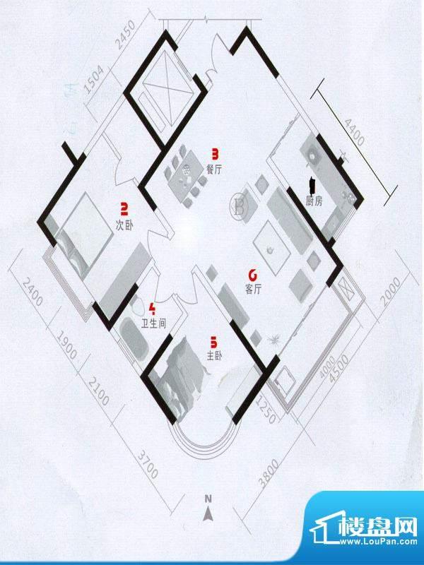 欧语城邦B1户型图 2面积:102.41m平米