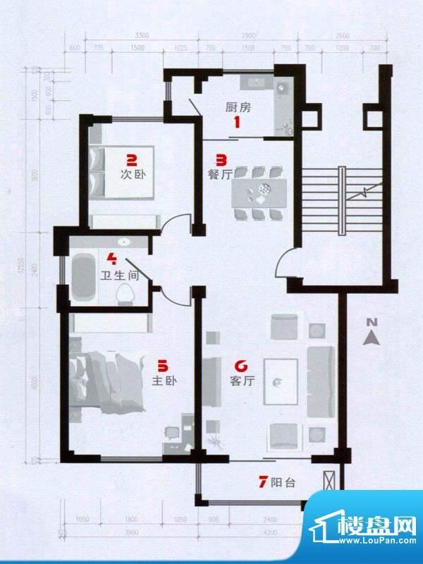 欧语城邦A户型图 2室面积:102.41m平米