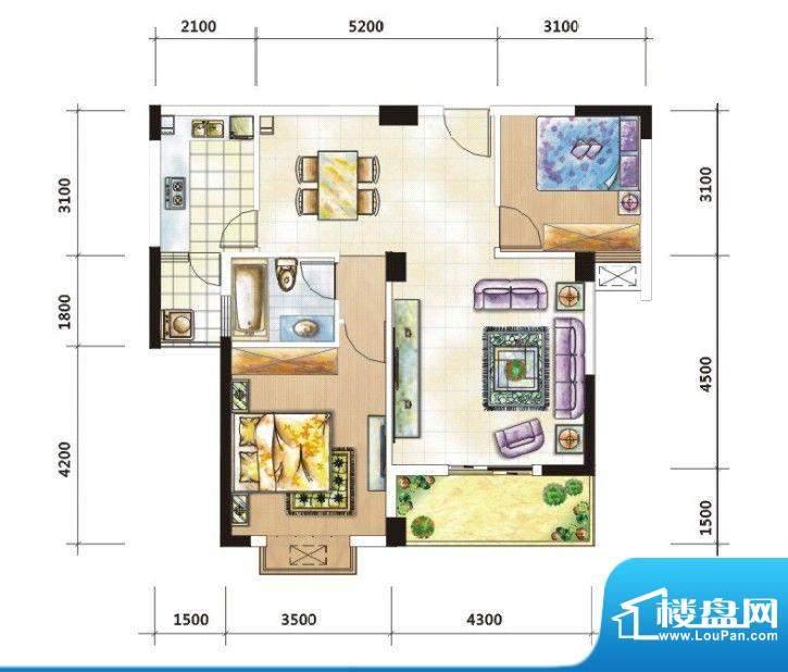 嘉豪城B户型 2室2厅面积:91.99m平米