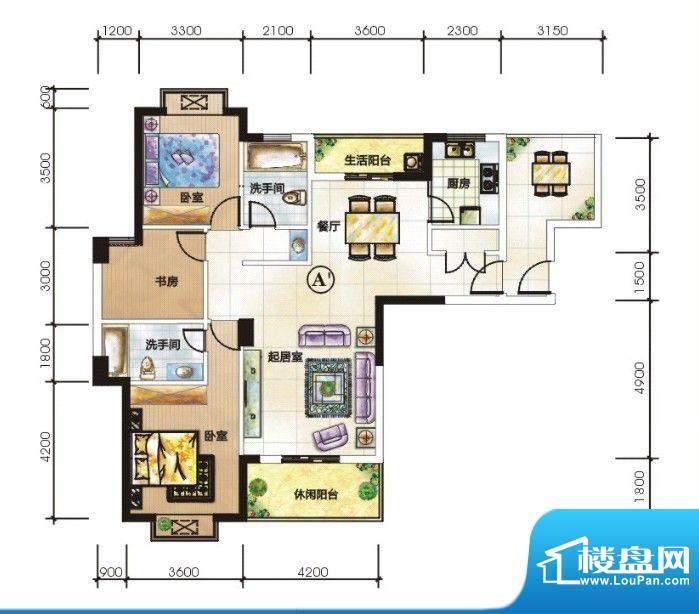 嘉豪城A'户型 3室3面积:133.75m平米