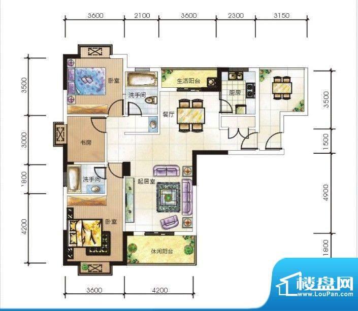 嘉豪城A户型 3室3厅面积:129.87m平米
