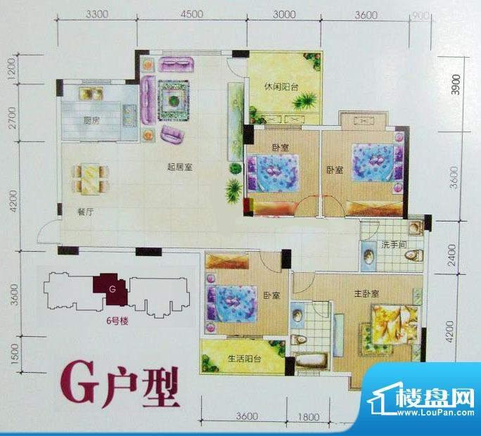 嘉豪城G户型 4室2厅面积:170.14m平米