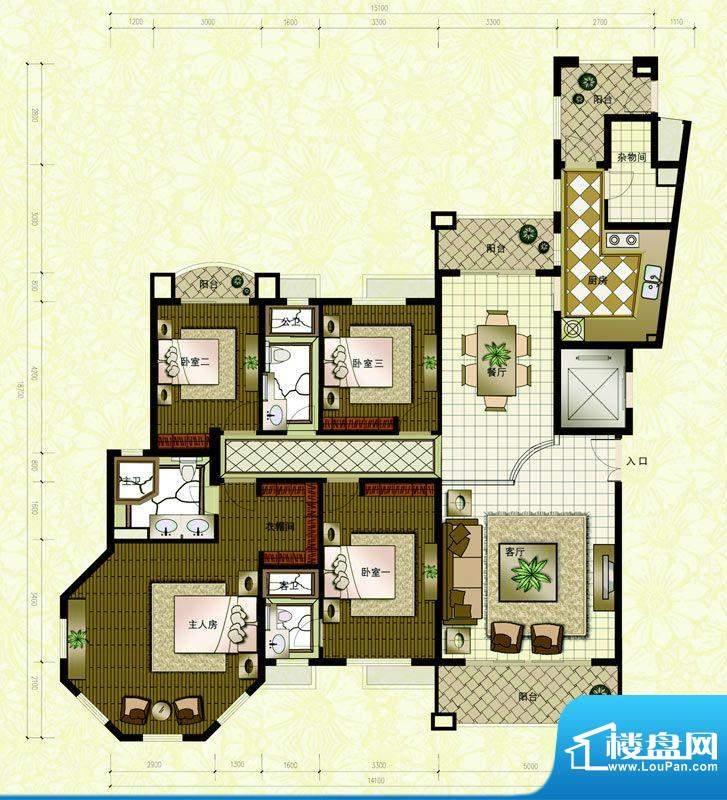 东海湾A2 4室2厅3卫面积:215.00m平米