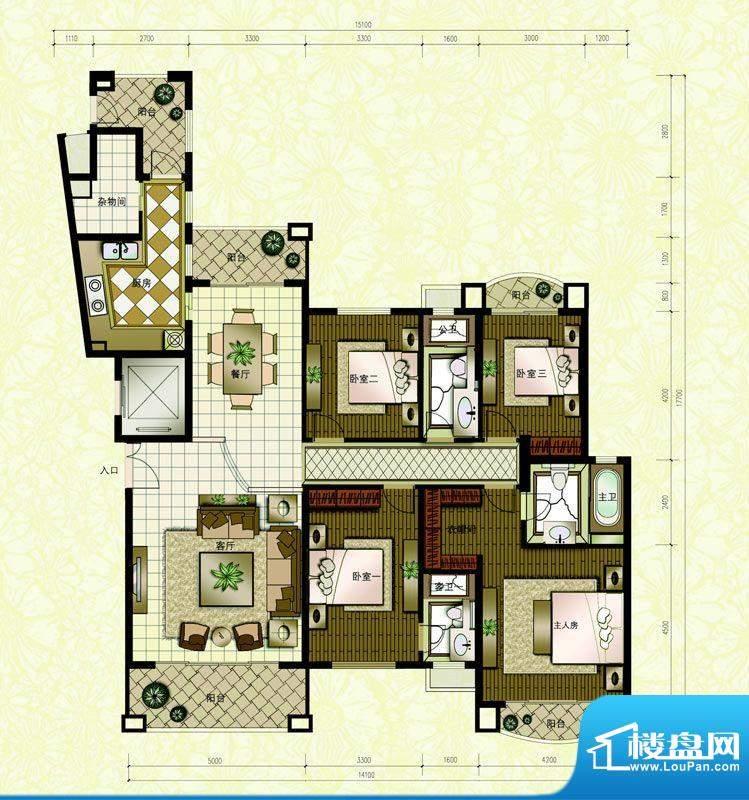 东海湾A1 3室2厅3卫面积:210.00m平米