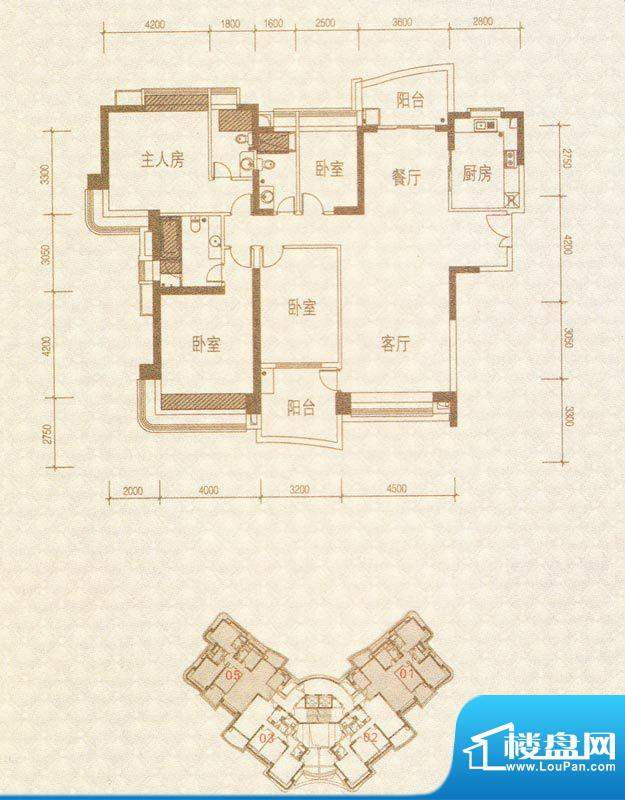 凯茵新城H1栋01-05号面积:201.97m平米