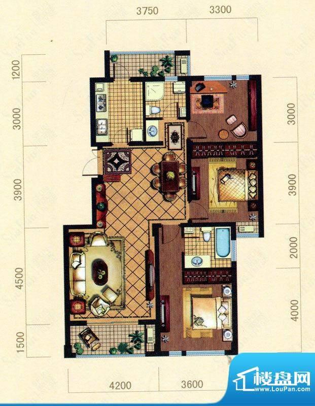 大观花园18#楼B5户型面积:115.00m平米